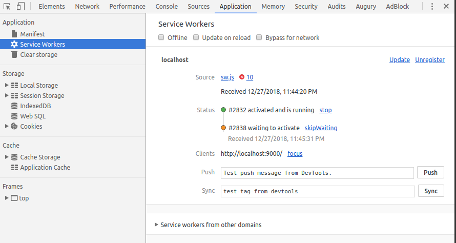 Service Worker Application Tab Waiting